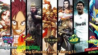 Cổng Webgame SohaPlay tặng Giftcode tuần 3 tháng 11