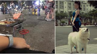 Kì kèo từng đồng khi ăn thịt xiên trên phố đi bộ, cách cưng chó của 2 cô gái xinh đẹp khiến dân mạng 'dậy sóng'