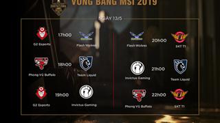LMHT: Lịch thi đấu Ngày 4 MSI 2019, cơ hội cuối cùng để PVB có thể đi tiếp vào vòng trong