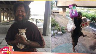 Người đàn ông vô gia cư này ngày ngày bán chanh trên phố để cưu mang những con mèo đi lạc