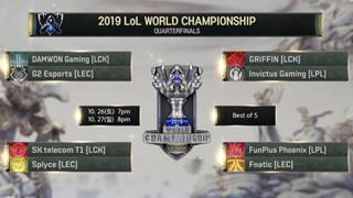 LMHT: Lịch thi đấu Vòng Tứ Kết CKTG 2019 26/10 - SKT T1 đại chiến G2