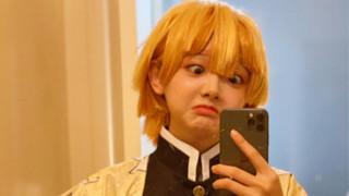 Chết cười! Nữ coser đáng yêu nhất cosplay Zenitsu Kimetsu No Yaiba và cái kết ngáo không tả!