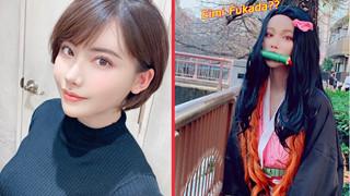 """Ngôi sao JAV Nhật Bản bất ngờ cosplay Nezuko Kimetsu No Yaiba: """"Giáo trình"""" cho năm mới chăng?"""