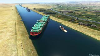 Con tàu bị mắc kẹt tại sông đào Suez đã xuất hiện trong tựa game 2 triệu GB của Microsoft